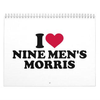 Amo los nueve morris de los hombres calendarios