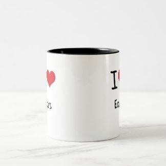 Amo los oídos taza de café de dos colores
