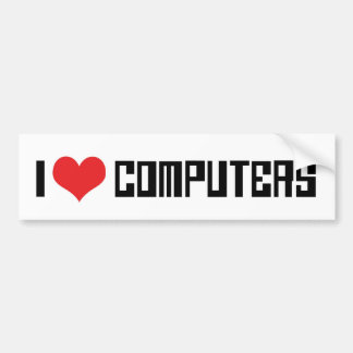 Amo los ordenadores del corazón - amante de la pegatina para auto