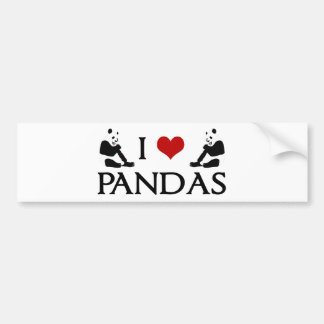 Amo los osos de panda lindos pegatina para auto
