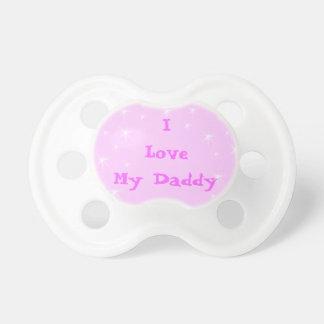 Amo los pacificadores rosados de los pacificadores chupetes para bebés