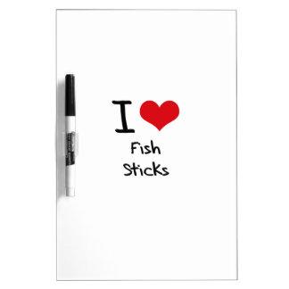 Amo los palillos de pescados tableros blancos