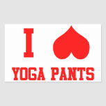 Amo los pantalones de la yoga rectangular pegatinas