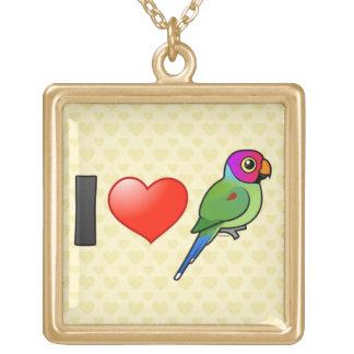 Amo los Parakeets Ciruelo-dirigidos el varón Grimpolas