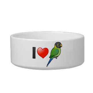 Amo los Parakeets Ciruelo-dirigidos (femeninos) Comedero Para Mascota