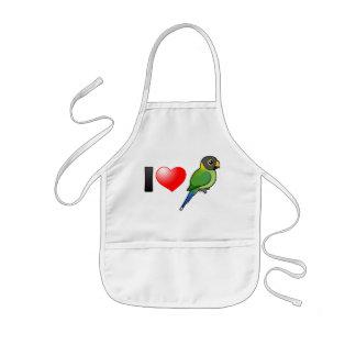 Amo los Parakeets Ciruelo-dirigidos (femeninos) Delantal Infantil