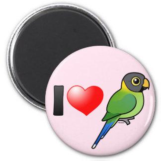 Amo los Parakeets Ciruelo-dirigidos (femeninos) Imán Redondo 5 Cm