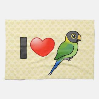 Amo los Parakeets Ciruelo-dirigidos (femeninos) Toalla