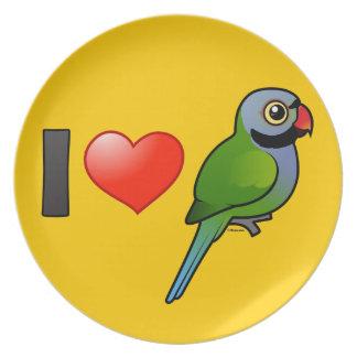 Amo los Parakeets de Derbyan Plato De Comida