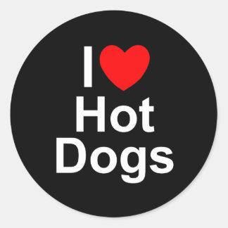 Amo los perritos calientes (del corazón) pegatinas redondas