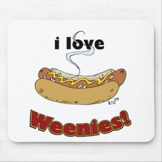 Amo los perritos calientes del ~ de los Weenies Alfombrilla De Raton