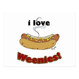 Amo los perritos calientes del ~ de los Weenies Tarjeta Postal
