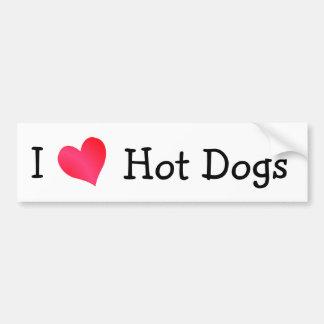Amo los perritos calientes etiqueta de parachoque