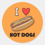 Amo los perritos calientes etiqueta redonda