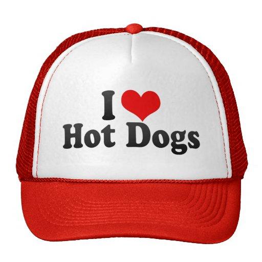 Amo los perritos calientes gorras de camionero