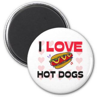 Amo los perritos calientes imán redondo 5 cm