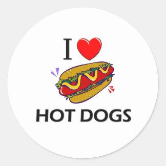 Amo los perritos calientes pegatinas redondas