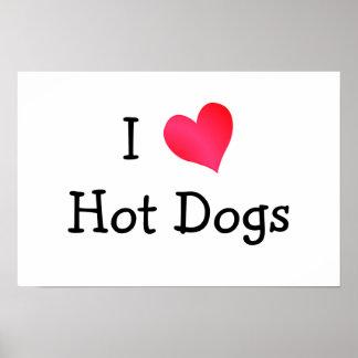 Amo los perritos calientes póster