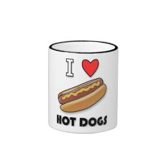 Amo los perritos calientes taza de dos colores