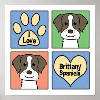 Amo los perros de aguas de Bretaña Impresiones