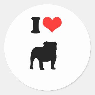 Amo los perros de Bull Etiquetas Redondas
