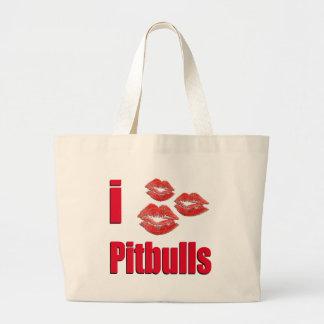 Amo los perros de Pitbull, besos del lápiz labial  Bolsa Tela Grande