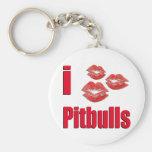 Amo los perros de Pitbull, besos del lápiz labial  Llavero Redondo Tipo Pin