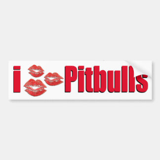 Amo los perros de Pitbull, besos del lápiz labial  Pegatina Para Auto