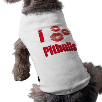 Amo los perros de Pitbull, besos del lápiz labial  Playera Sin Mangas Para Perro