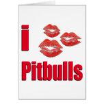 Amo los perros de Pitbull, besos del lápiz labial  Tarjetón