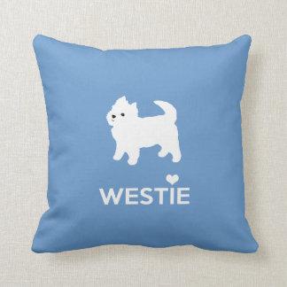 Amo los perros de Westie - montaña Terrier blanco Cojín Decorativo