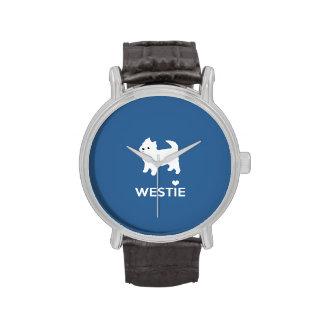 Amo los perros de Westie - montaña Terrier blanco Relojes De Pulsera
