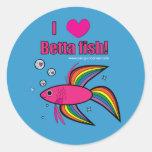 ¡Amo los pescados de Betta! Pegatina Redonda