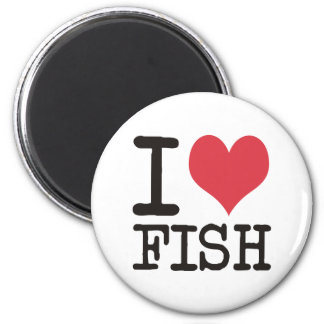 ¡Amo los pescados de comida de la carne Producst y Imán Redondo 5 Cm
