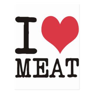 ¡Amo los pescados de comida de la carne Producst y Tarjeta Postal