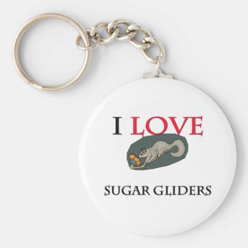 Amo los planeadores del azúcar llaveros