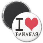 Amo los plátanos - manzanas - los productos y los  imán de frigorífico