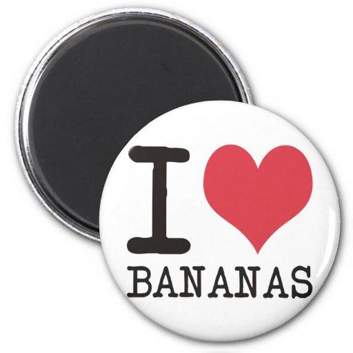 Amo los plátanos - manzanas - los productos y los  imán redondo 5 cm