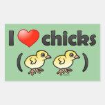 Amo los polluelos (los pájaros) pegatina rectangular