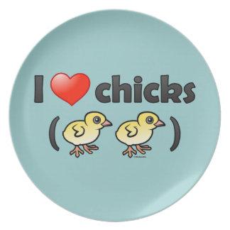 Amo los polluelos (los pájaros) platos de comidas