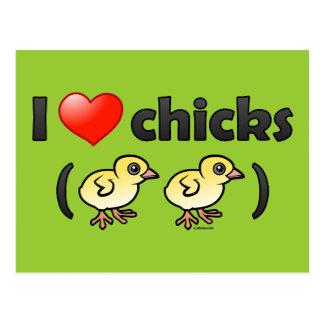 Amo los polluelos (los pájaros) postal