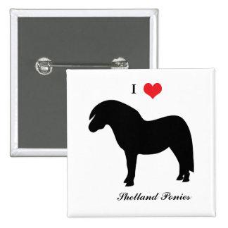 Amo los potros de Shetland del corazón, botón, per Pins