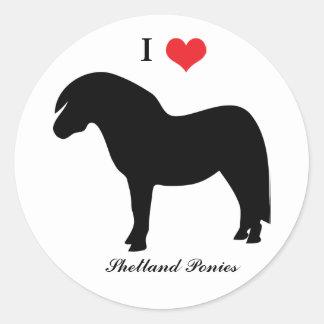 Amo los potros de Shetland del corazón, pegatina, Pegatina Redonda