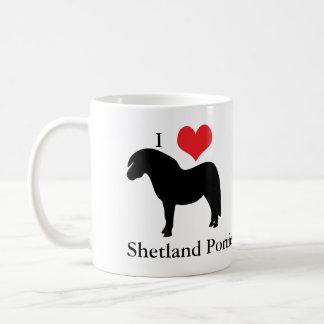 Amo los potros de Shetland del corazón, taza, idea Taza De Café