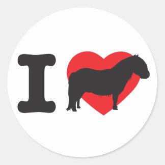 Amo los potros de Shetland - shettys del corazón Pegatina Redonda