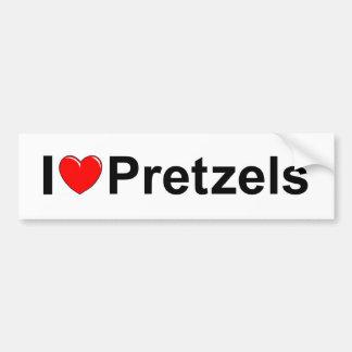 Amo los pretzeles (del corazón) pegatina para auto