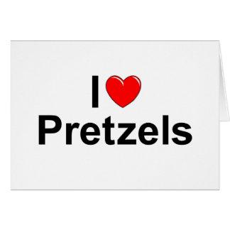 Amo los pretzeles (del corazón) tarjeta de felicitación