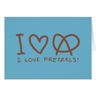 Amo los pretzeles tarjeta de felicitación