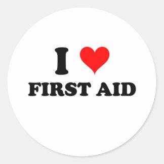 Amo los primeros auxilios etiqueta redonda