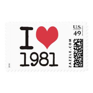 ¡Amo los productos 1981 y los diseños del corazón! Sello